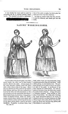 Godey's magazine - Google Books. Interesting description of a work dress transition from indoor work to outdoor work.