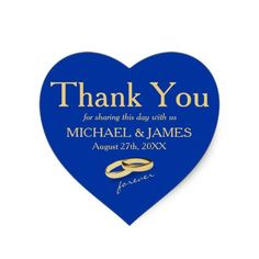 Personalized Gold & Blue Heart Wedding Sticker