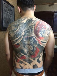 Back piece dragon phoenix and koi not finish yet progress 80%