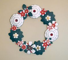 4th of July Wreath Red White Blue Paper Flowers by BubbleGumDish.com, $40.00