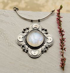RESERVED  BALANCE Sterling Silver Moonstone Necklace by EONDesign