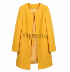 Wool Coat Women abrigos mujer winter Long Jacket Coats Elegant Solid 3 Colors Plus Size Abrigos Mujer invierno 2016 Casaco Hijab A Enfiler, Coats For Women, Jackets For Women, Long Overcoat, Yellow Coat, Collarless Jacket, Langer Mantel, Vintage Mode, Vintage Style