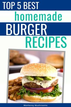 Top 5 Burger Recipes - Looking for new homemade burger recipes to pop on the gr. - Top 5 Burger Recipes – Looking for new homemade burger recipes to pop on the grill this summer? Healthy Burger Recipes, Grilling Recipes, Beef Recipes, Mushroom Side Dishes, Mushroom Dish, Best Mushroom Recipe, Mushroom Recipes, Summer Recipes, Great Recipes
