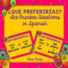 Qu Preferiras? Spanish Ice Breaker QuestionsThis is a set of 10 Qu Preferiras? Spanish Ice Breaker Questions in task card format and in slide format to project using an LCD projector or interactive board.  Students tell which scenario they would prefer out of the 2 options.Examples:Qu preferiras...ser un perro o ser un gato?Qu preferiras...ser rico y feo o ser pobre y guapo?~~~~~~~~~~~~~~~~~~~~~~~~~~~~~~~~~~~~~~~You may also like:Cultura Diaria - Daily Hispanic Culture Facts for Each Day of…