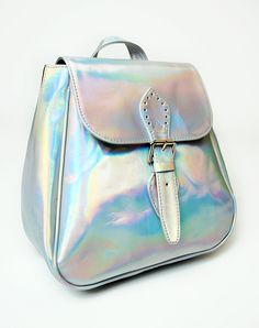 Motel Rocks Motel Rucksack in Silver Iridescent - ShopStyle Backpacks Bling Bling, Holographic Fashion, Holographic Purse, Chasing Unicorns, Cute Bags, Looks Style, Hologram, Fashion Bags, Asos Fashion
