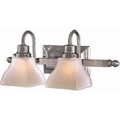 """Minka-Lavery 5582-84 2 Light Bath 2-100W Brushed Nickel by Minka. $125.00. Minka-Lavery 5582-84 2 Light Bath in Brushed Nickel Finish 2-100W 19 1/2"""" W x 7 3/4"""" H x 8 1/2"""" Ext. Etched Glass Medium Base. Save 30%!"""