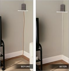 use trim painted the same color as your walls to hide electrical wires (no helpful link here - just the photo idea) hide wire, hous, cord