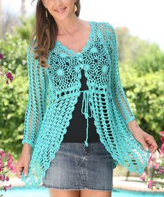 Look at this Teal Crocheted Tie-Waist Cardigan on #zulily today!