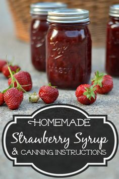 Homemade Strawberry Syrup Recipe Canning Instructions - Got fresh strawberries? Make this easy syrup for ice cream, pancakes, waffles more. Strawberry Syrup Recipes, Strawberry Sauce, Canning Syrup, Canning Jars, Cake Pops, Canned Strawberries, Donuts, Homemade Syrup, Homemade Seasonings