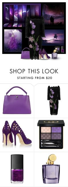 """Purple Nights"" by melody-renfro-goldsberry ❤ liked on Polyvore featuring RED, Louis Vuitton, Dolce&Gabbana, Oscar de la Renta, Gucci, NARS Cosmetics and Aedes De Venustas"