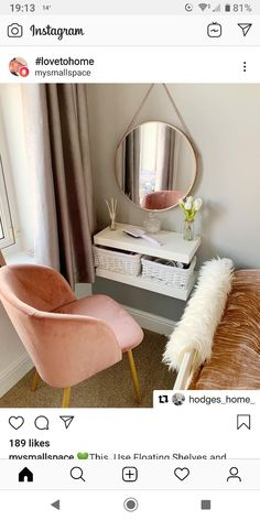 Clever Ways to Use Small Space for Dressing Table with mirror - Thehomehappy Source by manuelavanleeuw table ideas Small Room Bedroom, Room Ideas Bedroom, Home Bedroom, Bedroom Decor, Tiny Bedrooms, Dressing Table For Small Space, Where To Put Dressing Table, Small Vanity Table, Bedroom Dressing Table