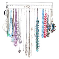 Display your favorite accessories above the dresser or vanity with this wall-mount jewelry organizer, featuring 18 individual S-hooks for hanging necklaces a...