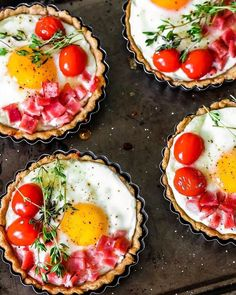 @bakedambrosia, we love your brunch style.  Breakfast tarts with eggs, goat cheese and bacon. Get the recipe + shop our Gobel Tart Set with the link in bio. #mywilliamssonoma #sundaybrunching
