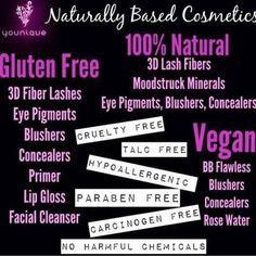 Younique product information, natural, gluten free, Vegan makeup and skincare, check out list for details! www.hairflaircosmetics.com