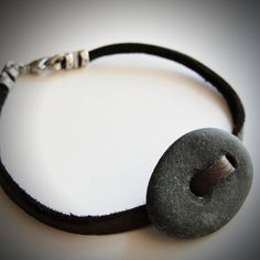 can't get enough of these Beach Rock & Leather bracelets!  $18 from JewelryByMaeBee on Etsy.