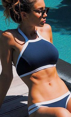 Simple Navy and White Halter Bikini Sets | Cupshe | Popular Women's Fashion