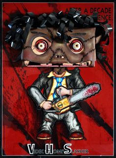 LEATHERFACE by NMPM. Wall sculpture using vintage VHS tape. Texas chainsaw massacre, leather face, horror art, chainsaw, slasher, VHS art