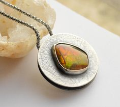 Ammolite Silver Necklace with Textured Surface and Modern Rustic Finish, Stylish Fossilized Double Sliding Sterling Silver Pendant