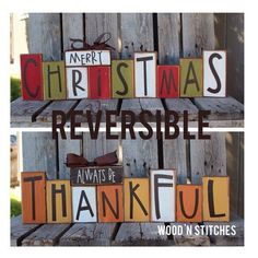 Christmas winter reversible seasonal decor wood block set personalized sign gift Fall autumn thanksgiving