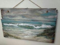 Nice painting it has character. Original ocean seascape painting on Reclaimed Wood Shabby Beach Cottage Primitive Folk Art wallhanging wall decor Art Plage, Pallet Art, Pallet Ideas, Seascape Paintings, Wood Paintings, Driftwood Art, Beach Crafts, Beach Scenes, Beach Art
