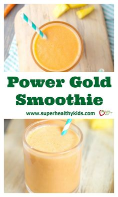 Power Gold Smoothie. We've got one ingredient in this smoothie that you don't usually find in delicious, sweet smoothies like this! http://www.superhealthykids.com/power-gold-smoothie/