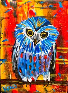 LiTTLE BLUE HOOTER~ OWL~bird painting Maine FOLK ART outsider~COASTWALKER
