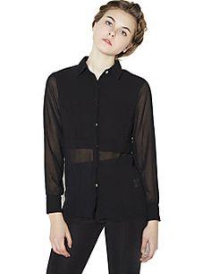 Haoduoyi Femme Mao Manche Longues Shirt et Chemisier Noir-142248601 Chemisier  Noir, Manches Longues 0de4642fffae