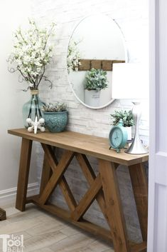 Woodworking Furniture Kids Double X Console Table Plans - Her Tool Belt.Woodworking Furniture Kids Double X Console Table Plans - Her Tool Belt Diy Furniture Projects, Diy Wood Projects, Home Projects, Best Diy Projects, Simple Projects, Carpentry Projects, Furniture Websites, Rustic Furniture, Home Furniture