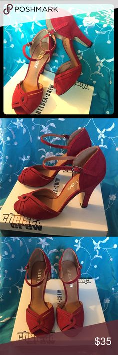 Chelsea Crew ----- Red Lillian Peep Toe Pumps Lovely, danceable, comfortable and beautiful peep toe pumps you can wear all day and all night. Heel height is 3.5 inches. Buckle closure. Never been worn. Chelsea Crew Shoes Heels