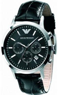 aff3a633913 Relógio Emporio Armani Chronograph Black Dial Black Leather Men s Watch -  AR2447  Relogio  EmporioArmani