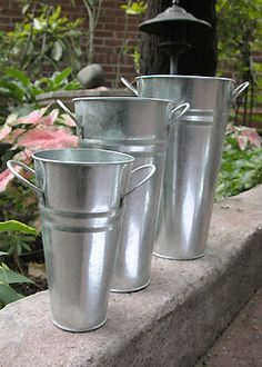 7in - 11in Galvanized French Vases