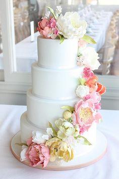 white wedding cake with flowers - beautiful!