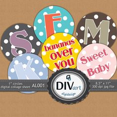 PRINTABLE Digital Polkadot Alphabet Collage Sheet  AL001 by DIVart, $3.00