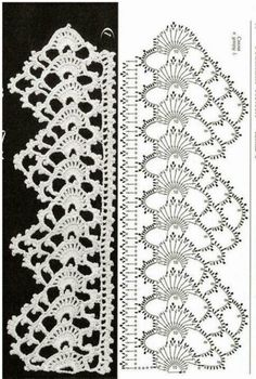 Crochet lace edging with pointThis post was discovered by Latife. Discover (and save!) your own Posts on Unirazi. Crochet Edging Patterns, Crochet Lace Edging, Crochet Borders, Crochet Diagram, Crochet Chart, Thread Crochet, Irish Crochet, Crochet Designs, Crochet Doilies