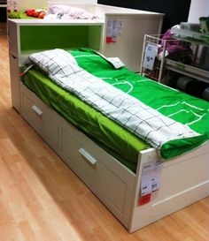 SMALL SPACE IDEAS : Ikea Brimnes Daybed with trundle, drawers and the flaxa headboard for additional storage: