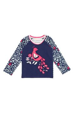 Free shipping and returns on Masalababy Dancing Peacock Appliqué Top (Toddler Girls, Little Girls & Big Girls) at Nordstrom.com. A darling peacock appliqué rests on a bed of flowers at the front of a long-sleeve top finished with floral sleeves and contrast stripes in back.