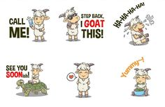 A set of goat characters illustrated by lucidmoon for jaymutzafi. Cute caricatures are translated into adorable sticker emojis for a google chat app #character #design #mascot