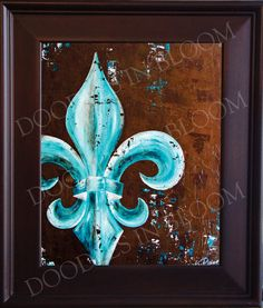 Fleur de Lis Art Print from Original Painting peacock teal colors on Etsy