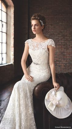 "LUSAN MANDONGUS #BRIDAL 2016 #wedding dresses bateau neckline cap sleeves lace beaded embroidered elegant beautiful trumpet mermaid gown train ""Ankaa"""