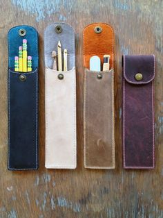 Your place to buy and sell all things handmade Leather Pencil Case- Utensil, pen, crochet hook case Diy Pencil Case, Leather Pencil Case, Pencil Cases, Crochet Hook Case, Crochet Hooks, Leather Gifts, Leather Craft, Handmade Leather, Vintage Leather