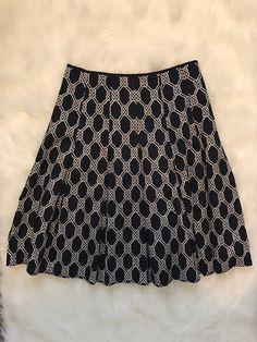 Jones New York Signature Size 4 Navy White Flared Skirt 100% Cotton     eBay