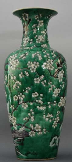 CHINESE LARGE GREEN GLAZED VASE, REPUBLIC PERIOD Painted with Trees and Birds H:44.5cm