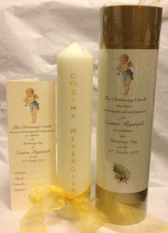 Personalised Christening candle with box and card. Candle is hand engraved and painted with baby's name, dates of birth & christening. Symbol of jug pouring water is also included and if requested chalice+communion and dove for future first holy communion & confirmation celebrations - they can be added later if preferred. Engraving painted in gold or silver with matching box and ribbon. www.candledesigns.ie First Holy Communion, Hand Engraving, Confirmation, Baby Names, Pillar Candles, Christening, Dates, Celebrations, Birth