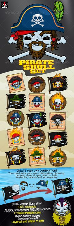Pirate Skull Set  #GraphicRiver         Funny set of Pirate Skull Character. - Easy to use and costumize - Layers are properly named and grouped. - Completely made of vector (resizable and easy to recolor). - 6 mouths, 6 eyes, 3 hats, 3 bandanas, several facial hair sets (beards, mustaches in 3 colors) and accessories (flag, sword, bones, wood and more). - Also contains premade poses (Images). - Included formats: AI, EPS, JPGs (3500×3500px average) and transparent PNGs (3500×3500px average)…