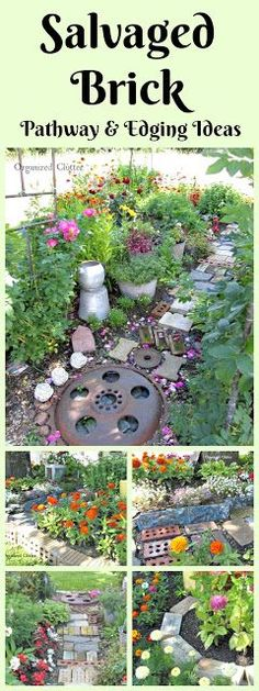 Salvaged Brick Ideas for the Flower Garden #salvagedbrick #gardenpath #gardenwhimsy #gardenjunk #junkgarden #flowergarden
