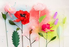 Paper flowers and watercolors royalty-free stock photo