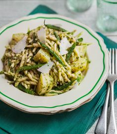 Trofie Liguria with pesto alla genovese. One of our favourite pasta dishes, so simple, warming and takes us back to the beaches on the Ligurian coast of Italy.  www.therecipekit.co.uk Pasta Dishes, Pesto, Beaches, Coast, Yummy Food, Italy, Magic, Simple, Ethnic Recipes