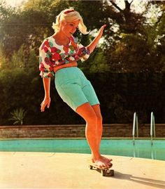 Patti McGee was the first pro female skater, the first to win the national female championships, and the first female inducted into the Skateboarding Hall of Fame. She looks like the Mathieu's mother with LSD.