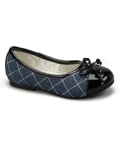 Look at this L'Amour Shoes Denim Quilted Patent-Toe Flat on #zulily today!