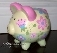 "Custom, hand painted ceramic personalized piggy bank Charlotte by Sumersault design small 5"". $38.00, via Etsy."